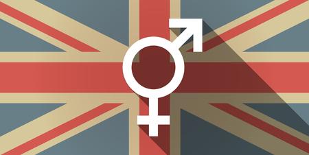 sex discrimination: Illustration of a long shadow UK flag icon with a bigender symbol