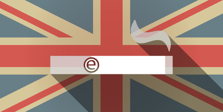 e cigarette: Illustration of a long shadow UK flag icon with an electronic cigarette
