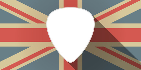 plectrum: Illustration of a long shadow UK flag icon with a plectrum
