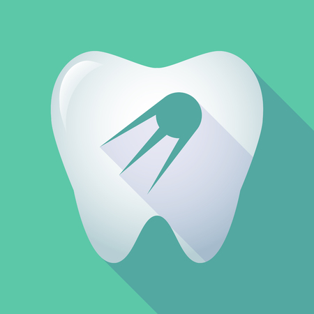 oral communication: Illustration of a long shadow tooth icon with a vintage satellite