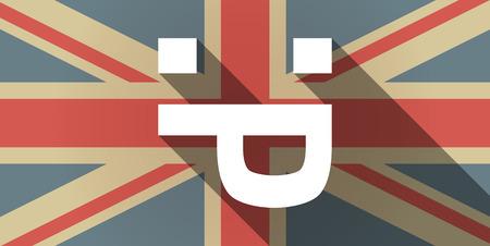 sacar la lengua: Ilustración de un icono de la bandera larga sombra del Reino Unido con una cara de texto lengua fuera