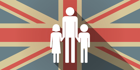 single family: Illustration of a long shadow UK flag icon with a male single parent family pictogram