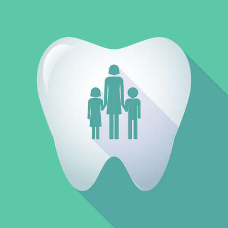 single parent family: Illustration of a long shadow tooth icon with a female single parent family pictogram