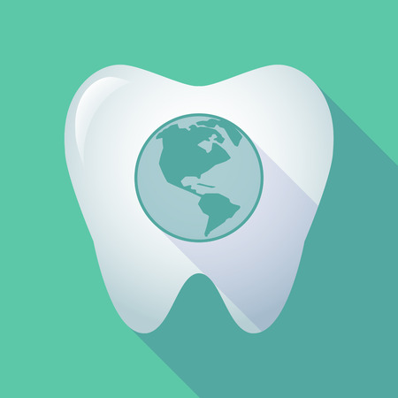 oral care: Illustration of a long shadow tooth icon with an America region world globe