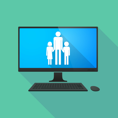 single family: Long shadow personal computer with a male single parent family pictogram