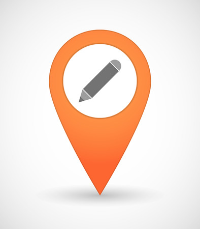 map pencil: Illustration of a map mark icon with a pencil