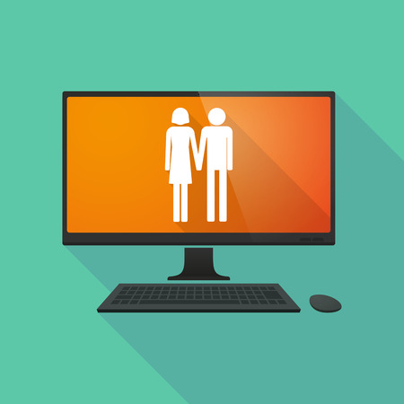 heterosexual couple: Long shadow personal computer with a heterosexual couple pictogram