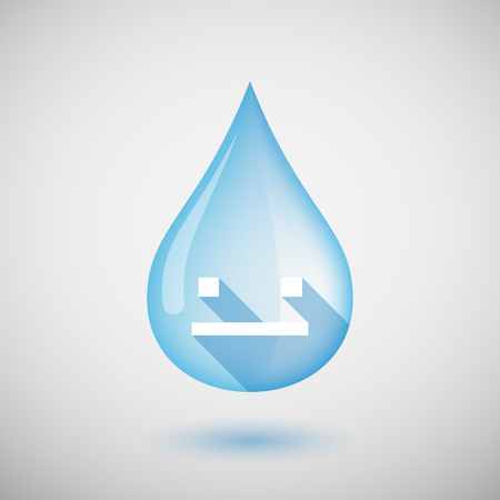 emotionless: Illustration of a long shadow water drop icon with a emotionless text face Illustration