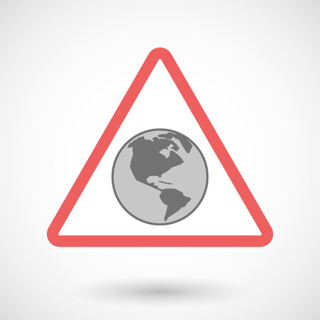 precaution: Illustration of a warning signal with an America region world globe Illustration