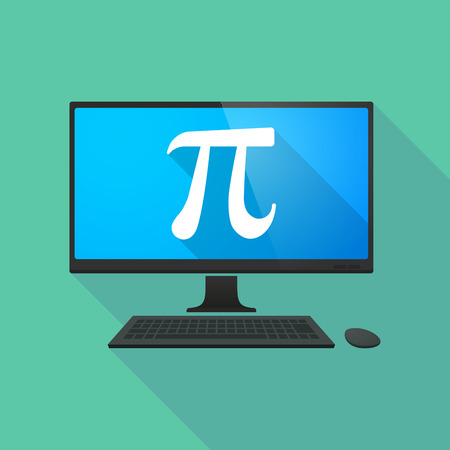 studying computer: Long shadow personal computer with the number pi symbol
