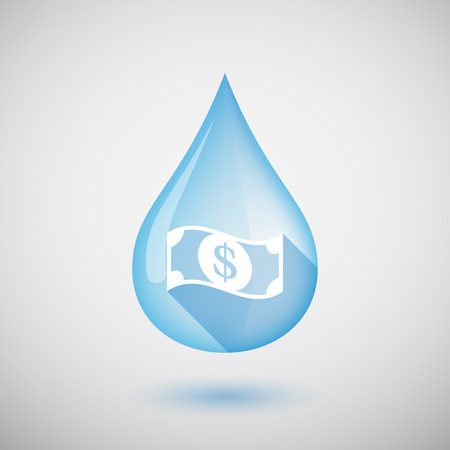 Illustration of a long shadow water drop icon with a dollar bank note