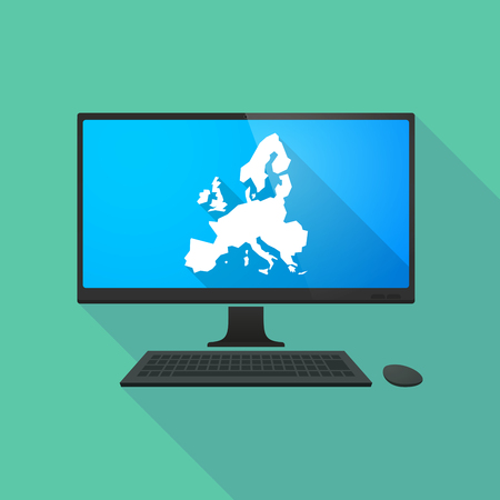 personal computer: Long shadow personal computer with  a map of Europe Illustration
