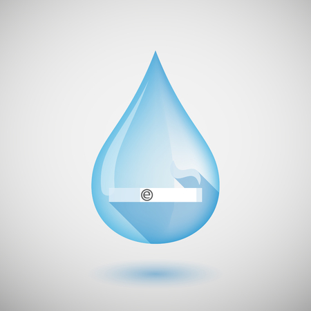 e cigarette: Illustration of a long shadow water drop icon with an electronic cigarette