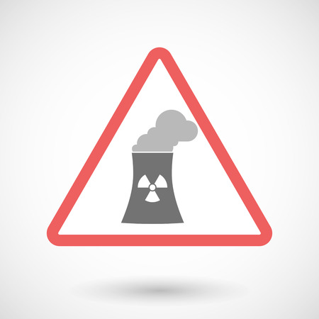 nuclear power station: Illustration of a warning signal with a nuclear power station Illustration