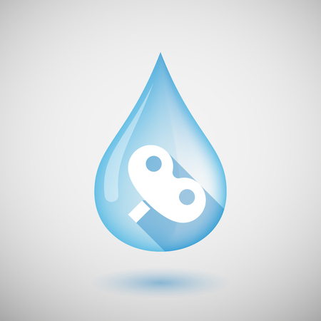 crank: Illustration of a long shadow water drop icon with a toy crank