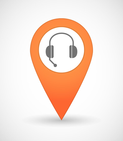 hands free device: Illustration of a map mark icon with  a hands free phone device