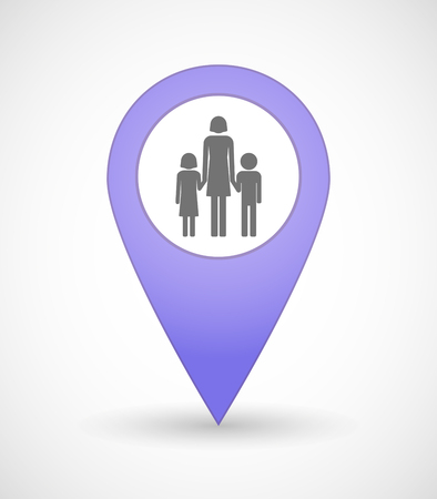 single family: Illustration of a map mark icon with a female single parent family pictogram