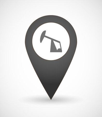 horsehead pump: Illustration of a map mark icon with a horsehead pump