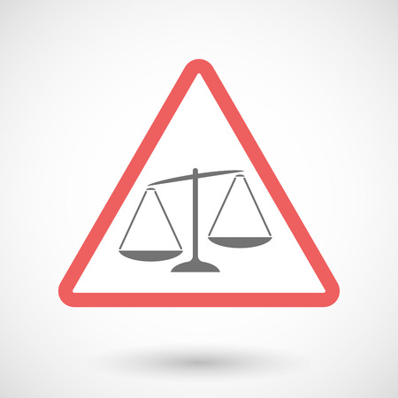 unbalanced: Illustration of a warning signal with  an unbalanced weight scale