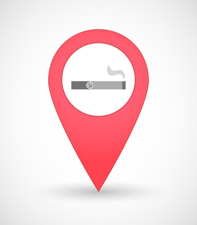 e cigarette: Illustration of a map mark icon with an electronic cigarette Illustration