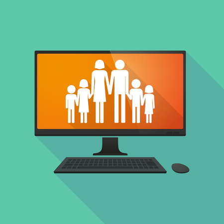 large family: Long shadow personal computer with a large family  pictogram