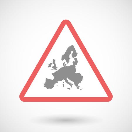 Illustration eines Warnsignals mit einer Karte von Europa Vektorgrafik