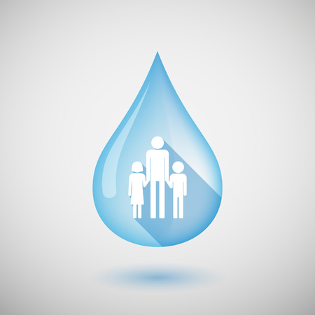 girl drinking water: Illustration of a long shadow water drop icon with a male single parent family pictogram