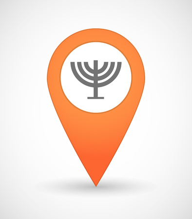 holy place: Illustration of a map mark icon with a chandelier