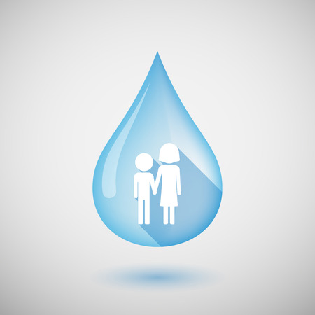 orphan: Illustration of a long shadow water drop icon with a childhood pictogram