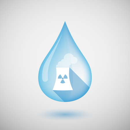 Illustration of a long shadow water drop icon with a nuclear power station