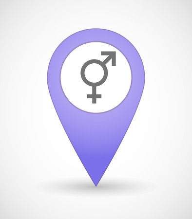 homosexual sex: Illustration of a map mark icon with a bigender symbol