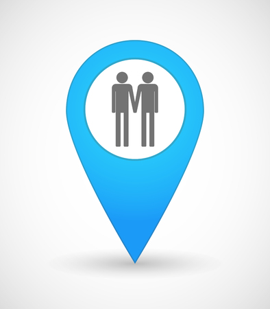 gay couple: Illustration of a map mark icon with a gay couple pictogram