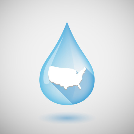 liquid state: Illustration of a long shadow water drop icon with  a map of the USA