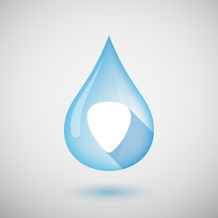 plectrum: Illustration of a long shadow water drop icon with a plectrum