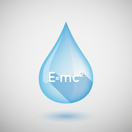 relativity: Illustration of a long shadow water drop icon with the Theory of Relativity formula