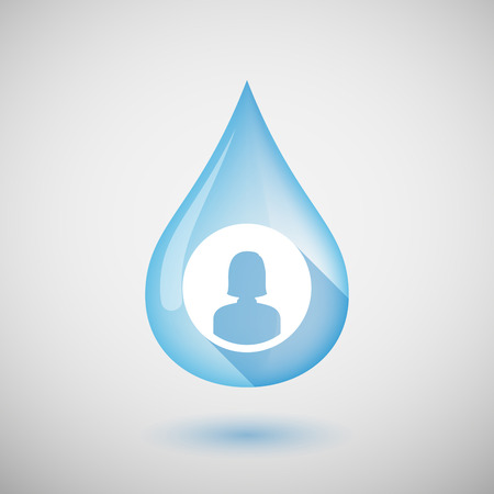 girl drinking water: Illustration of a long shadow water drop icon with a female avatar