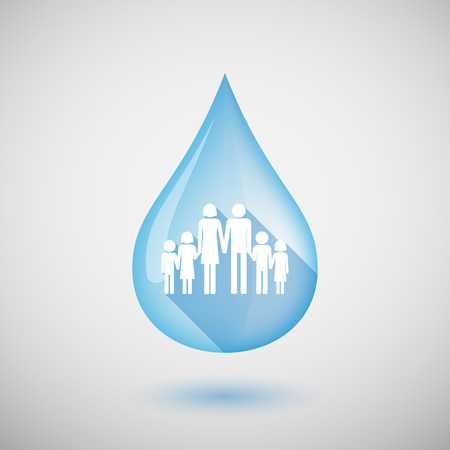 wet girl: Illustration of a long shadow water drop icon with a large family  pictogram