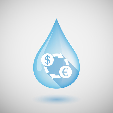 Illustration of a long shadow water drop icon with a dollar euro exchange sign