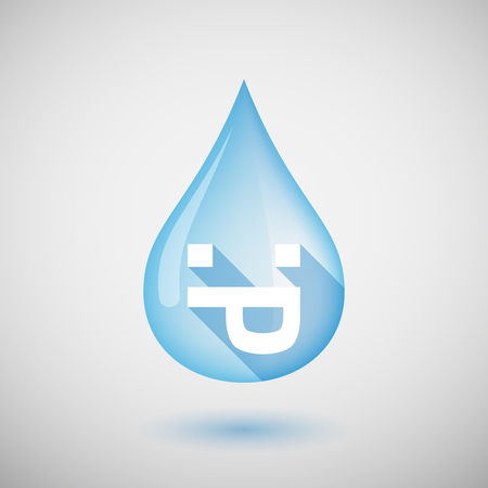 long tongue: Illustration of a long shadow water drop icon with a sticking out tongue text face
