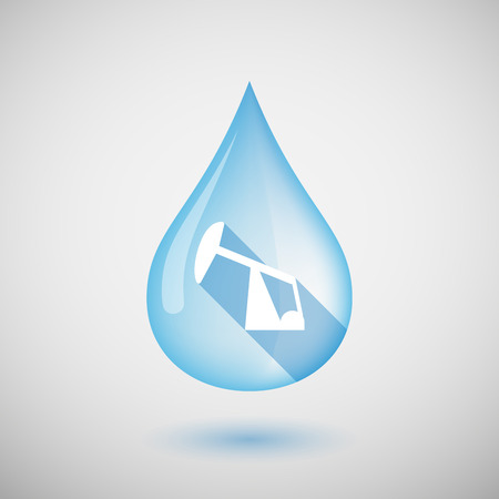 horsehead pump: Illustration of a long shadow water drop icon with a horsehead pump Illustration
