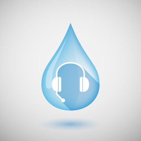 hands free device: Illustration of a long shadow water drop icon with  a hands free phone device