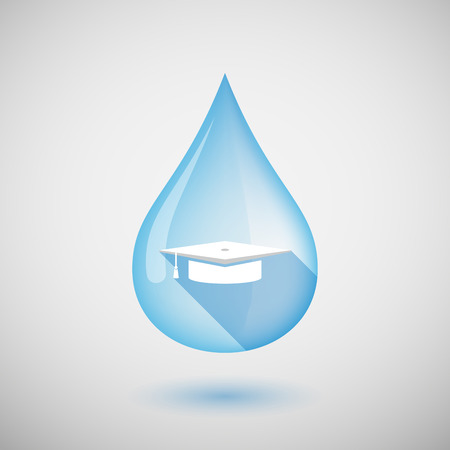 drop cap: Illustration of a long shadow water drop icon with a graduation cap