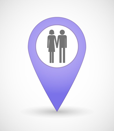 heterosexual: Illustration of a map mark icon with a heterosexual couple pictogram