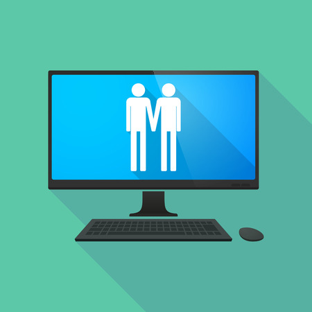 gay couple: Long shadow personal computer with a gay couple pictogram