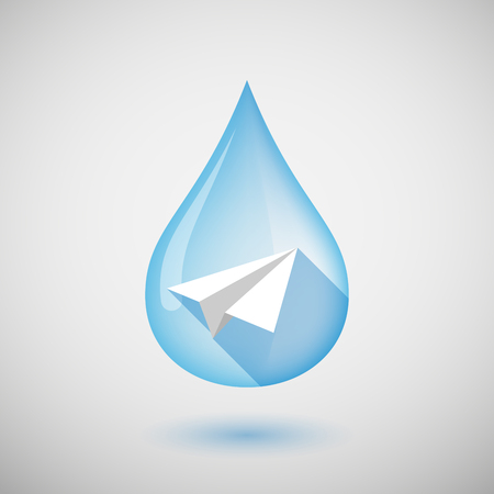 wet flies: Illustration of a long shadow water drop icon with a paper plane