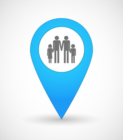 position d amour: Illustration of a map mark icon with a gay parents  family pictogram