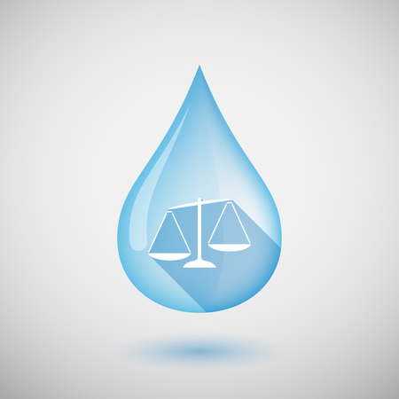 Illustration of a long shadow water drop icon with  an unbalanced weight scale