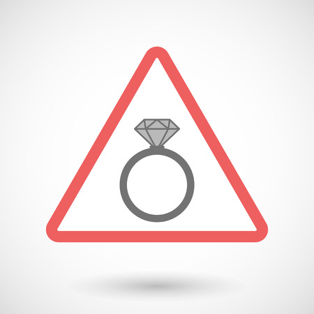 Illustration of a warning signal with an engagement ring