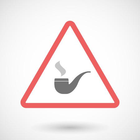 pipe smoking: Illustration of a warning signal with a smoking pipe Illustration