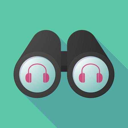 earphones: Long shadow illustration of a binoculars viewing a earphones